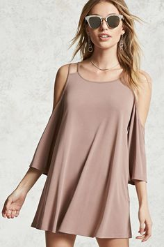 Forever 21 Contemporary - A lightweight knit mini dress featuring a swing silhouette, a round neck, cutout shoulder straps, an open-shoulder design, and 3/4 sleeves.
