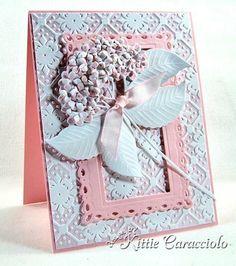 Kittie Kraft - inked and embossed card with die cut dimensional flowers
