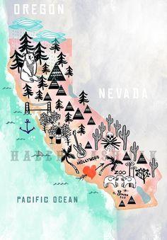 California 13 x 19 Illustrated Map Wall Decor/Gift by HalehPashmak, $15.00
