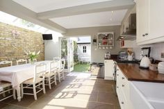 Kitchen diner extension- nice exposed brick work