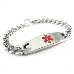 """Kids Steel Medical Alert ID Bracelet, Curb Chain - Wrist Size 5""""+ for only $19.99 You save: $10.00 (33%)"""