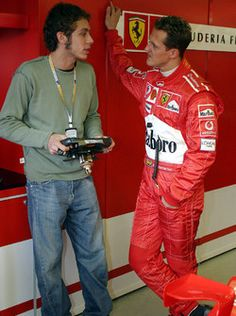 Valentino Rossi with Michael Schumacher, Ferrari – Motorcycles Ideas Motogp Valentino Rossi, Valentino Rossi 46, Michael Schumacher, Gp Moto, Vr46, Ferrari F1, F1 Drivers, F1 Racing, Champions