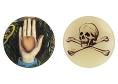John Derian Heart in Hand and Skully Decopage Plates