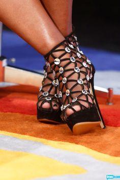 RHOA's Phaedra Parks in some hot web-like Charlotte Olympia heels