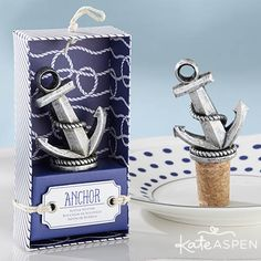 Let your dreams set sail with a nautical themed bridal shower or wedding! Guests will love stowing away their wine with this chic anchor bottle stopper. Shop more unique and trendy wedding favors ➸ http://www.kateaspen.com/wedding-favors.html?utm_source=pinterest&utm_medium=social&utm_content=050415%2Bpp%2BAnchor%2BBottle%2BStopper%2BWedding%2BFavors%2BCategory%2BPage&utm_campaign=product