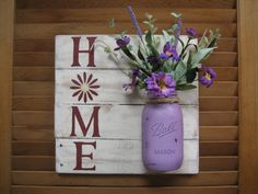Home sign pallet wood reclaimed wood mason by RusticRenewalByAmy