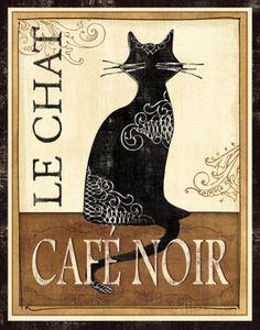 De kat, Franse tekst: Le Chat, Café noir Kunst van Veronique Charron bij AllPosters.nl