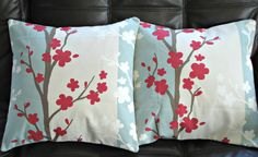 Decorative pillows cherry red blossom blue cream oriental design cushion shams UK designer fabric  Two 16 inch