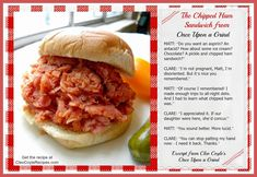 Mystery Lovers' Kitchen: Mysteries of Pittsburgh: How to Make a BBQ Chipped Ham Sandwich by Cleo Coyle Ham Barbecue Recipe, Bbq Ham Recipes, Barbecue Chips, Ham Sandwich Recipes, Types Of Sandwiches, Cooking Recipes, Dinner Recipes, Chopped Ham