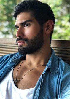 His hair, eyebrows, moustache and beard. Beard Styles For Men, Hair And Beard Styles, Beautiful Men Faces, Gorgeous Men, Hairy Men, Bearded Men, Moustaches, Great Beards, Face Men