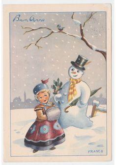 1952 FRANCO cartolina augurale vintage bambina pupazzo di neve Buon Anno