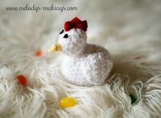 Free Crochet Chicken Pattern - She lays jelly bean eggs! So cute and funny...perfect for Easter gifts!