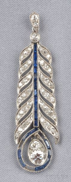 Art Deco Platinum, Sapphire, and Diamond Pendant