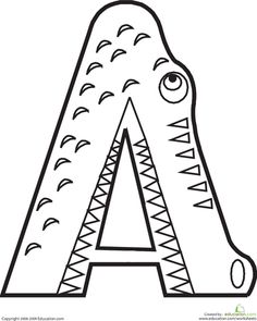 Worksheets: Letter A Coloring Page