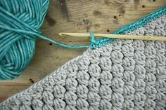 Bobble stitch infinity scarf with crab stitch edge - free...