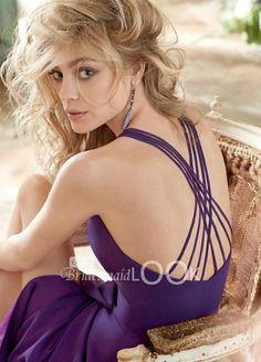 sexy purple chiffon sleeveless a-line v-neck spaghetti strap criss cross back short bridesmaid dress