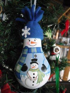 Snowman building a snowman lightbulb ornie