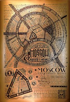GoldenMoscow - Map of moscow in Russian lit quotes. I must have this poster.
