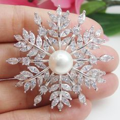 $11.95 - Austrian Crystal Silver Tone Snowflake Pearl Bride Wedding Flower Corsage Brooch #ebay #Fashion