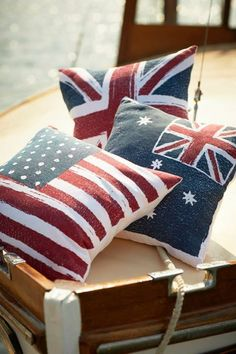 american flag pillow  British flag. I'll take one of each (sorry Australia)