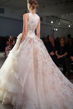 Lazaro floral wedding dress Style 3613 from Spring 2016 Collection