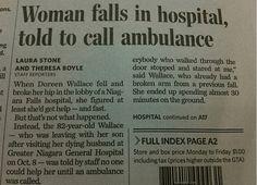 Funny newspaper headlines- woman falls in hospital, told to call ambulance. Funny newspaper headlines.