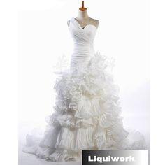 Custom White Couture One shoulder Mermaid Wedding Dress Bridal Gowns SKU-118051