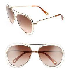 Women's Chloe 61Mm Aviator Sunglasses (9,290 HNL) ❤ liked on Polyvore featuring accessories, eyewear, sunglasses, chloe sunglasses, chloe eyewear, chloe glasses, aviator style sunglasses and aviator sunglasses