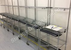 Bespoke chrome wire workstations for clean room Storage Design, Bespoke, Lockers, Shelving, Pallet, Chrome, Wire, Room, Projects