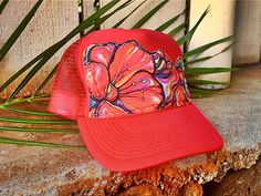 Mele Trucker Hat ~ I want this hat! Painted Hats, Hand Painted, Wave Stencil, Cute Caps, Girls Time, Fabric Painting, Graffiti Art, Refashion, Cute Designs
