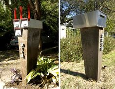 Modern Mailbox:   Made mostly of concrete bases and stainless steel boxes, Austin craftsman Dusty Whipple can customize them to your home.