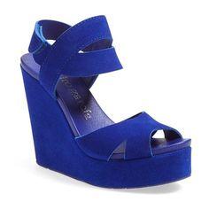 Pedro Garcia 'Teilor' Wedge Sandal ($495) ❤ liked on Polyvore featuring shoes, sandals, electric blue suede, platform sandals, wedges shoes, adjustable strap sandals, platform shoes and suede platform sandals