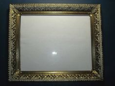 "picture frame gold/white filigree Brass/glass 8"" x 10"" easel back Hollywood #vintage #HollywoodRegency"
