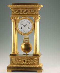 Louis WALTRIN 56cm Gr Empire Bronze Portaluhr 1815 Scherenhemmung Präzisionsuhr