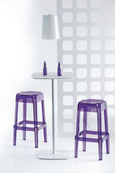 2e8b969daf Purple plastic bar stool with white high bar table. www.spaceist.co.