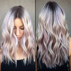 Love this look, love the faint pink/purple highlights along with the silver blond!
