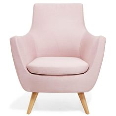 How to Decorate with Pantone's Rose Quartz and Serenity - Pittsburg Pink Mid-Century Modern Armchair, $499; at ABC Carpet & Home