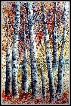 BIRCH LOVE...  Watercolor & Watercolor Pencils  Using no green.