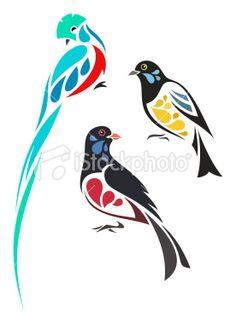 Stylized tropical birds Royalty Free Stock Vector Art Illustration