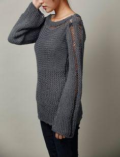 Mano donna maglia maglia Eco cotone oversize in Charcoal