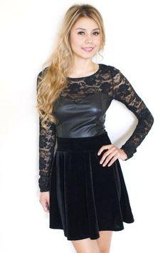 Black Velvet High Waisted Skirt #flare #skaterskirt