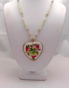Vintage Heart Pendant  Beaded Necklace Design  by kitscreations