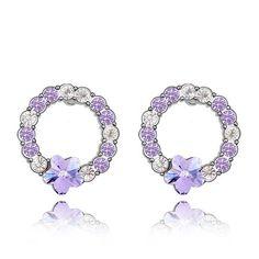 Austrian Crystal Earrings-Pure Like Jade-Violet - $12.80