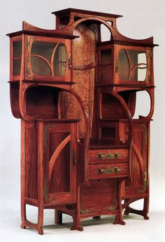 Gustave Serrurier-Bovy Belgian, 1858-1910 Cabinet-vitrine, 1899 Red narra and ash with copper and enamel mounts, ©The Metropolitan Museum of Art, New York, Gift of Mr. and Mrs. Lloyd Macklowe http://www.new-york-art.com/e/National-Gallery-Artnouveau.htm