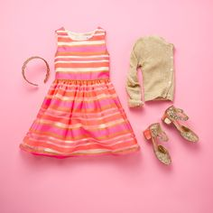 Girls' fashion | Kids' clothes | Striped dress | Headband | Cardigan | Glitter shoes | The Children's Place