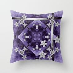 Throw Pillow Silver flowers on purple and black textured mandala by Wendy Townrow on Society6