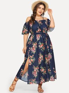 To find out about the Plus Off Shoulder Self Belted Floral Dress at SHEIN, part of our latest Plus Size Dresses ready to shop online today! Plus Size Sundress, Plus Size Maxi Dresses, Petite Dresses, Plus Size Outfits, Casual Dresses, Halter Dresses, Tunic Dresses, Vestidos Vintage, Vintage Dresses