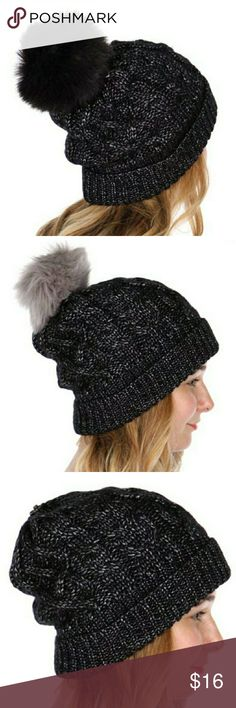 🌼 Fur Pom Beanie Keep warm, stay cute. Interchange fur pom beanie. Comes with black and silver poms. Snaps on.  100% acrylic  Bundle n Save Accessories Hats