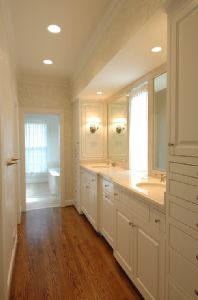 paint cabinets white in bathroom. Oak floors