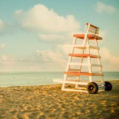 Striped Life Guard Chair, Beach Decor, Ocean Art, Sea, Nautical Decor, Summer…